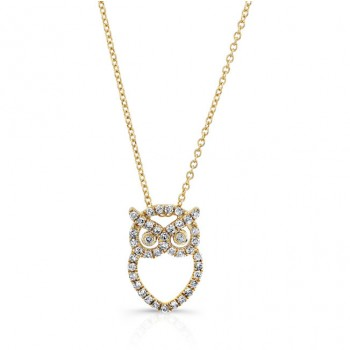 Yellow Gold Diamond Owl Necklace