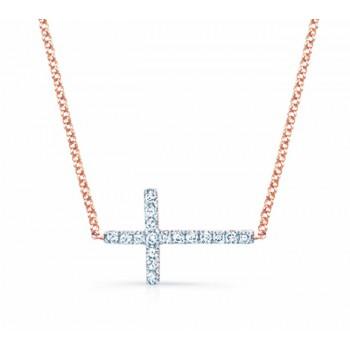 Rose Gold Sideways Diamond Cross Necklace .14cts