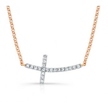 Rose Gold Curved Diamond Cross Necklace