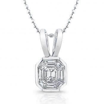 14k White Gold Diamond Mosaic Pendant