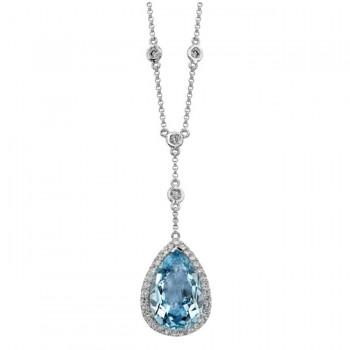 14k White Gold Sky Blue Topaz Diamond Necklace - NK16943BTPZ-W