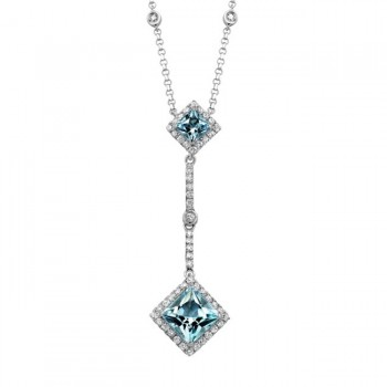 14k White Gold Aquamarine Diamond Shape Necklace - NK17290AQ-W