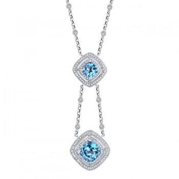 14k White Gold Pave Bezel Blue Topaz Diamond Necklace - NK17352BT-W