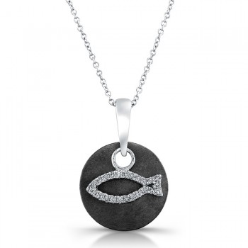 Black Sterling Silver Diamond Fish (Ichthus) Pendant