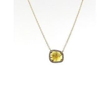 yellow diamond slice necklace