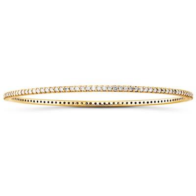 14k Yellow Gold Prong Set Diamond Bangle
