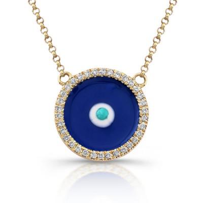 14K Yellow Gold Dark Blue Enamel Evil Eye Necklace