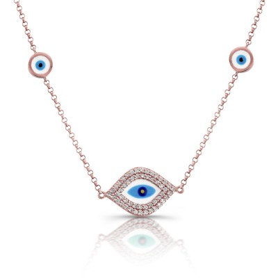 14k Rose White-Blue Enamel Evil Eye Necklace