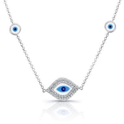 14k WG White-Blue Enamel Evil Eye Necklace