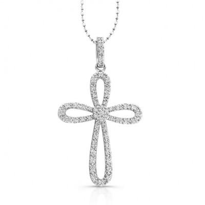 14k White  Diamond Cross Pendant: Cluster Center