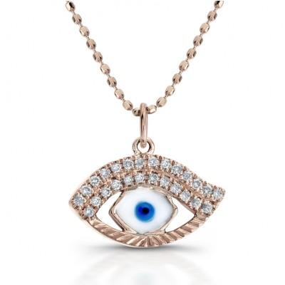 14k rose gold, White-Blue Enamel Evil Eye Pendant