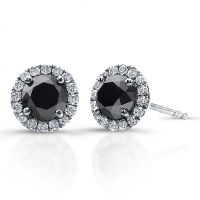 i white h clarity earrings gold cut rose stud black diamond color and round jewelry cttw product diamonds