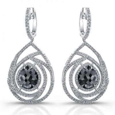 18k white gold rose cut brown diamond chandelier earrings aloadofball Gallery