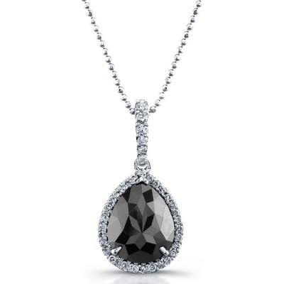 Pear Shape Black Diamond Halo Necklace