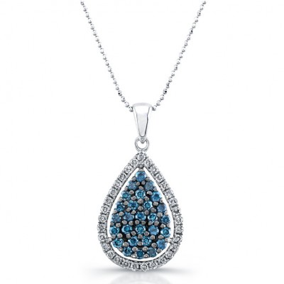 carat blue white necklace p tw stone three pendant diamond gold