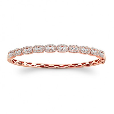 14K Rose Gold channel-prong diamond bangle 1.80ctw