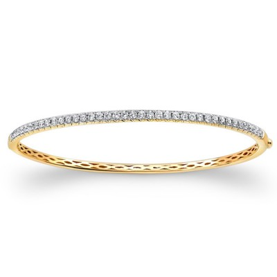14k Yellow Gold Diamond Bangle 1 Carat