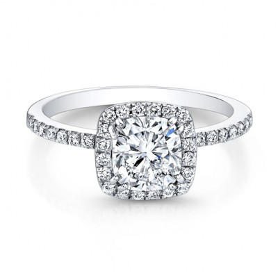 Halo Cushion Engagement Ring 1.72ct G,VS1 GIA