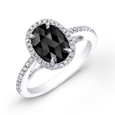 1ct Black Diamond Halo Ring
