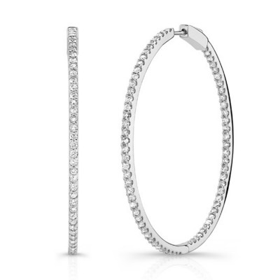 White Gold 2 Inch Diamond Hoops