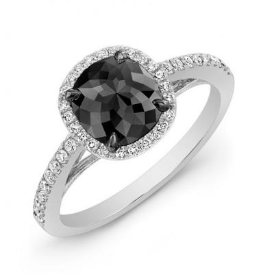 Halo Cushion 1 Carat Black Diamond Ring