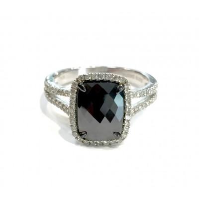 2.19 Cushion Black Diamond Ring 30213