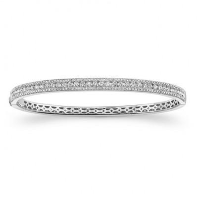 14K White Diamond Prong -Channel Bangle 1.93CTW