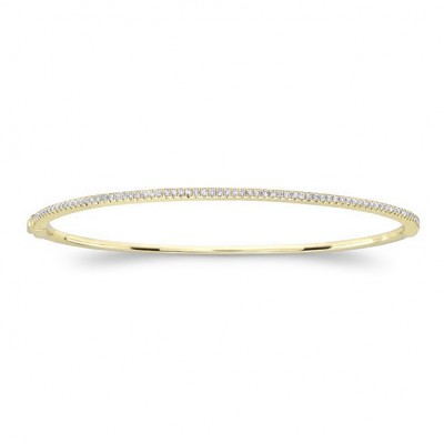 14k Yellow Gold Diamond Prong Set Bangle