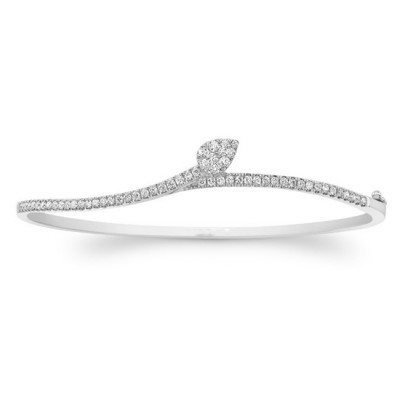 14k white Gold Diamond  Leaf Bangle