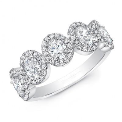 Five Stone Oval Halo Diamond Ring