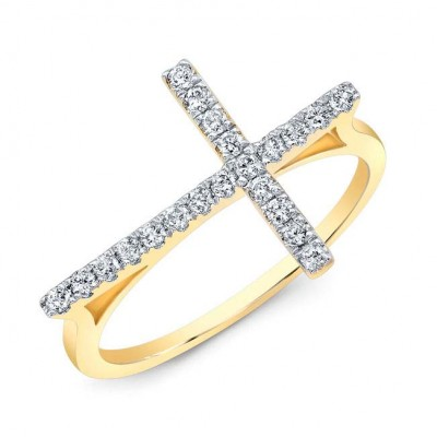 Modern Yellow Gold Diamond Cross Ring
