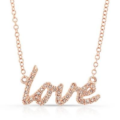 14k rose cursive love diamond necklace aloadofball Image collections