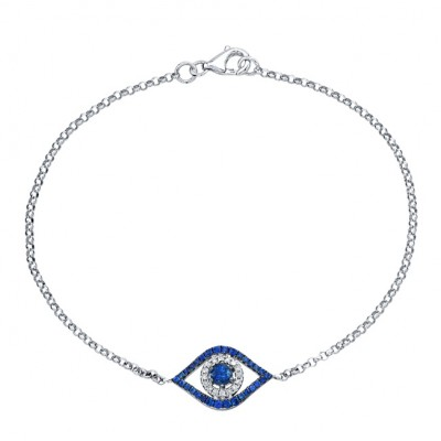 White gold evil eye bracelet 26505s w 14k white gold evil eye bracelet with white diamonds and a sapphire center aloadofball Image collections