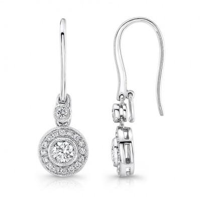 18K White Gold Bezel Set Diamond Milgrain Detail Drop Earrings