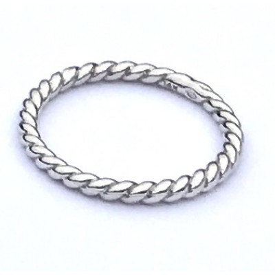 14K white gold twisted rope band
