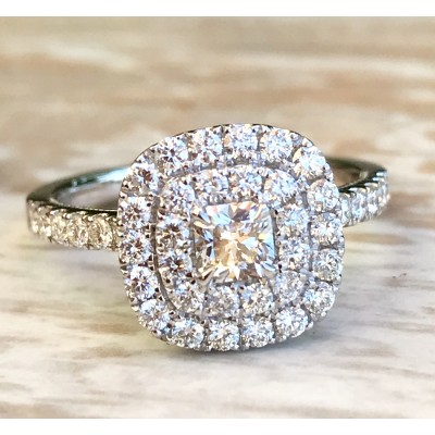 Double Halo Ideal Square Engagement Ring