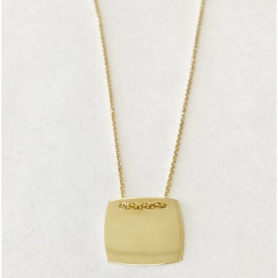 14k yellow gold square pendant