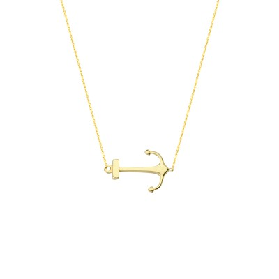 Yellow Gold Side Ways Anchor Necklace