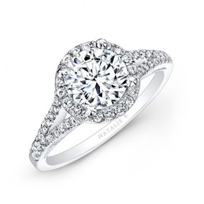 18k White Gold Split Shank Prong Halo White Diamond Engagement Ring