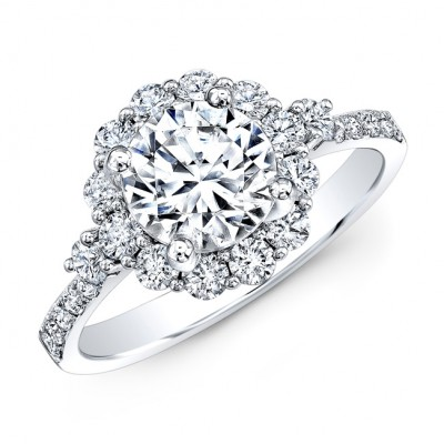 18k White Gold Single Prong Diamond Halo Engagement Ring with Side Stones