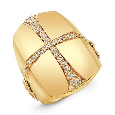 Gold Plated Diamond Cross Ring