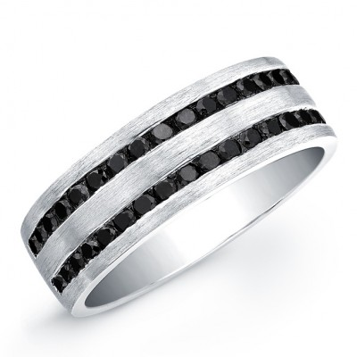 Silver Mens Black Diamond Ring