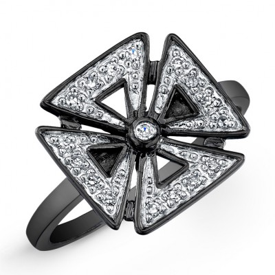 Black Sterling Silver Diamond Chopper Cross Ring