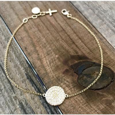 Gold Diamond Disc Bracelet