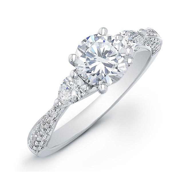 Three Stone Engagement RingPear Shape Side Stones