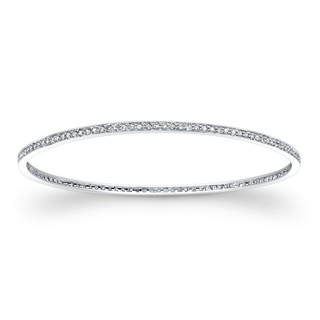14k White Gold Diamond Pave Set Bangle