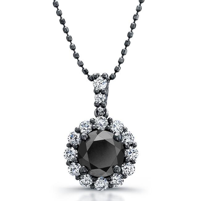 14k black gold black diamond halo pendant aloadofball Image collections