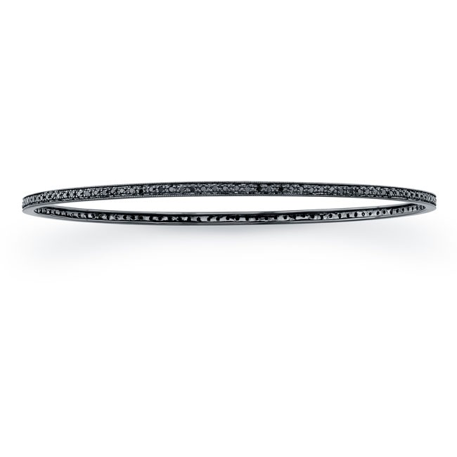14k white Black Diamond Pave Set Bangle  19294-B