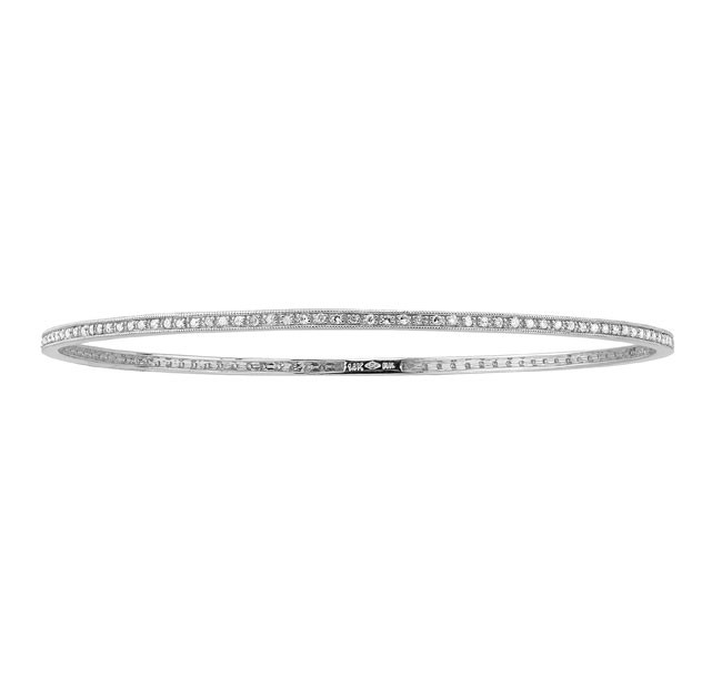 14k White  Diamond Pave Set Bangle  19294-W