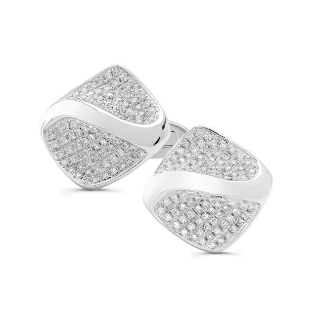 14k White Gold Mens Pave Diamond Swirl Cuff Links